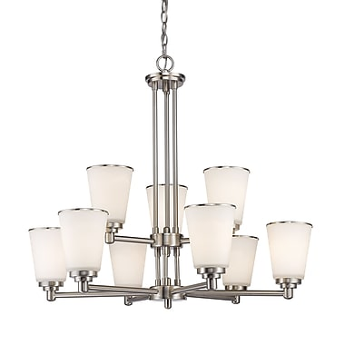 Z-Lite 432-9BN Jarra Chandelier, 9 Bulb, White Glass