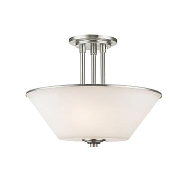 Z-Lite 432SF-BN Jarra Semi Flush Mount, 3 Bulb, White Glass