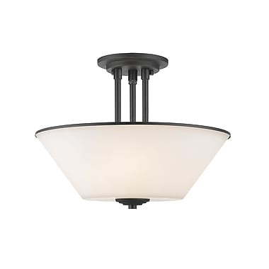 Z-Lite 432SF-BRZ Jarra Semi Flush Mount, 3 Bulb, White Glass