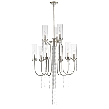 Z-Lite 433-9BN Siena Chandelier, 9 Bulb, Clear Glass