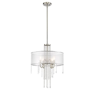 Z-Lite – Luminaire suspendu Monarch 433P-BN, 4 ampoules, organza semi-transparent