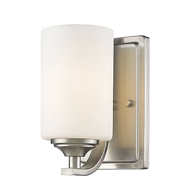 Z-Lite 435-1S-BN Bordeaux Wall Sconce, 1 Bulb, Matte Opal Glass