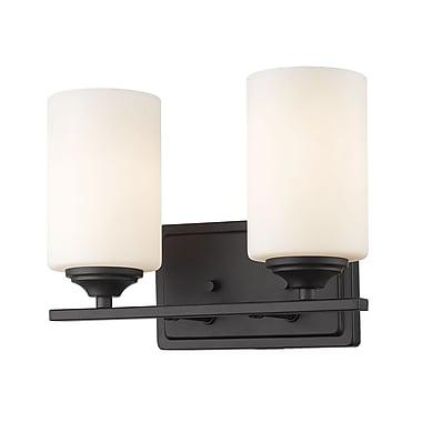 Z-Lite – Luminaire Bordeaux 435-2V-BRZ, 2 ampoules, verre opale mat