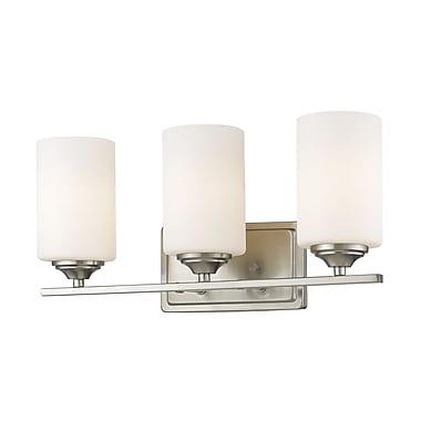 Z-Lite – Luminaire Bordeaux 435-3V-BN, 3 ampoules, verre opale mat