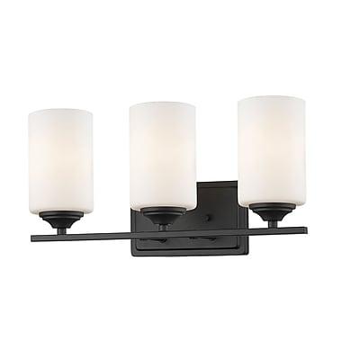 Z-Lite – Luminaire Bordeaux 435-3V-BRZ, 3 ampoules, verre opale mat