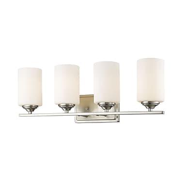 Z-Lite 435-4V-BN Bordeaux Vanity, 4 Bulb, Matte Opal Glass