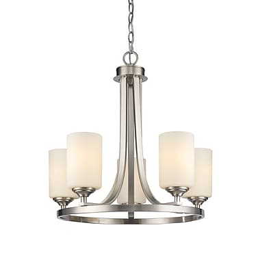 Z-Lite 435-5BN Bordeaux Chandelier, 5 Bulb, Matte Opal Glass