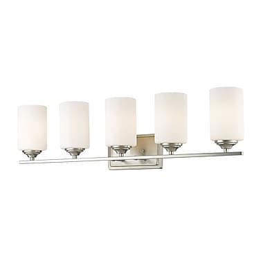 Z-Lite 435-5V-BN Bordeaux Vanity, 5 Bulb, Matte Opal Glass