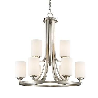Z-Lite – Lustre Bordeaux 435-9BN, 9 ampoules, verre opale mat