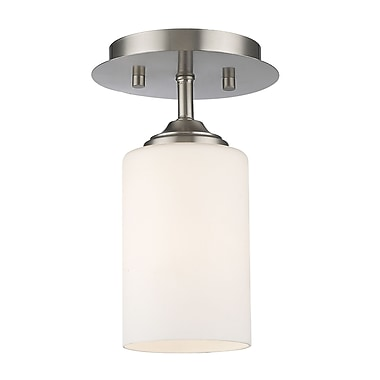 Z-Lite 435F1-BN Bordeaux Flush Mount, 1 Bulb, Matte Opal Glass
