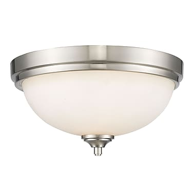 Z-Lite 435F2-BN Bordeaux Flush Mount, 2 Bulb, Matte Opal Glass