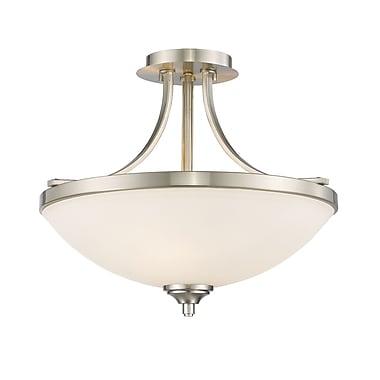 Z-Lite 435SF-BN Bordeaux Semi Flush Mount, 3 Bulb, Matte Opal Glass