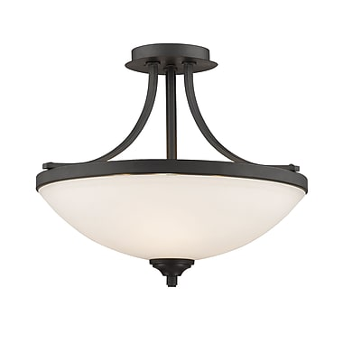 Z-Lite 435SF-BRZ Bordeaux Semi Flush Mount, 3 Bulb, Matte Opal Glass