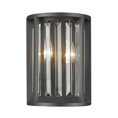 Z-Lite 439-2S-BRZ Monarch Wall Sconce, 2 Bulb, Clear Crystal