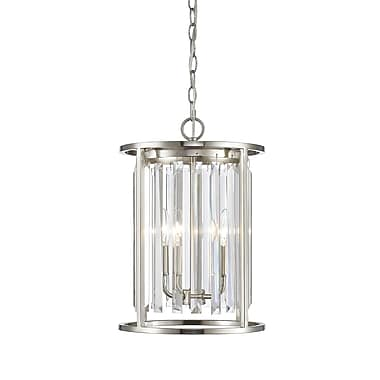 Z-Lite 439-3BN Monarch Chandelier, 3 Bulb, Clear Crystal