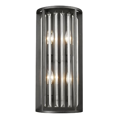 Z-Lite 439-4S-BRZ Monarch Wall Sconce, 4 Bulb, Clear Crystal
