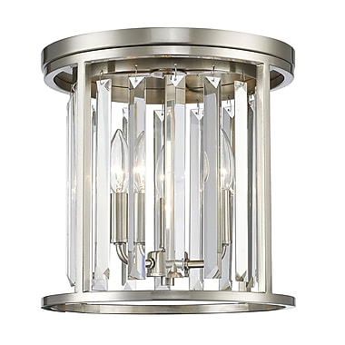 Z-Lite 439F12-BN Monarch Flush Mount, 3 Bulb, Clear Crystal