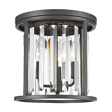 Z-Lite 439F12-BRZ Monarch Flush Mount, 3 Bulb, Clear Crystal