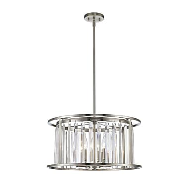 Z-Lite 439P-BN Monarch Pendant, 6 Bulb, Clear Crystal