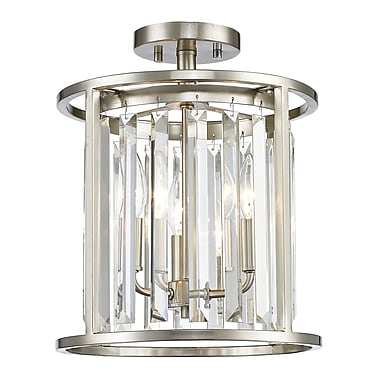 Z-Lite 439SF12-BN Monarch Semi Flush Mount, 3 Bulb, Clear Crystal