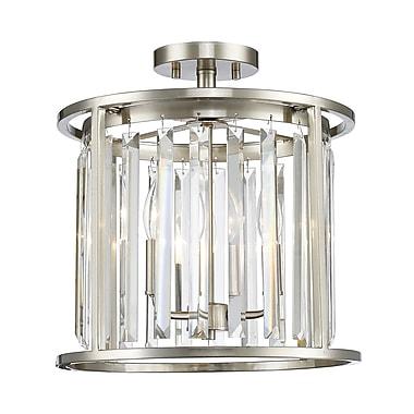 Z-Lite – Plafonnier semi-encastré Monarch 439SF14-BN, 3 ampoules, cristal incolore