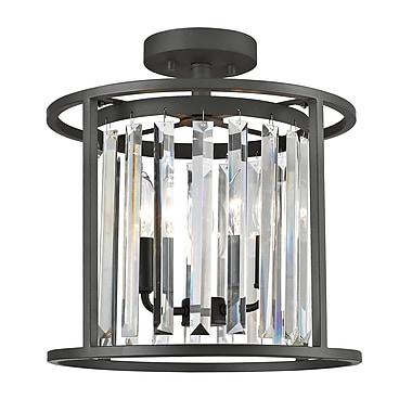 Z-Lite – Plafonnier semi-encastré Monarch 439SF14-BRZ, 3 ampoules, cristal incolore