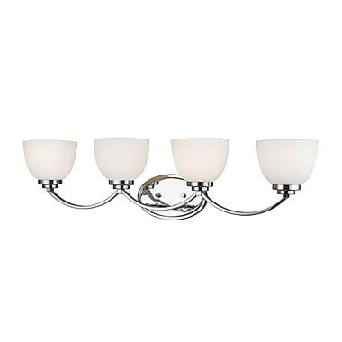 Z-Lite 443-4V-CH Ashton Vanity Light, 4 Bulb, Matte Opal Glass