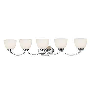 Z-Lite 443-5V-CH Ashton Vanity Light, 5 Bulb, Matte Opal Glass