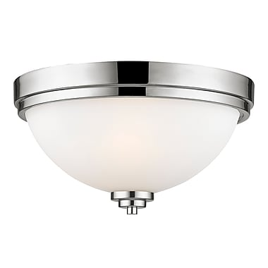 Z-Lite 443F2-CH Ashton Flush Mount, 2 Bulb, Matte Opal Glass