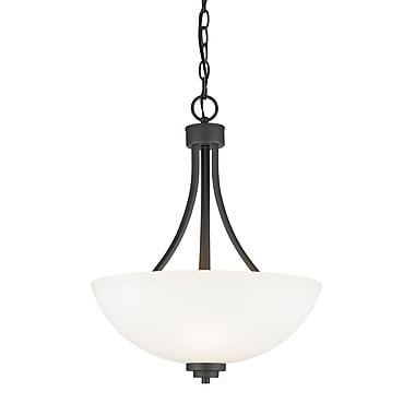 Z-Lite – Luminaire suspendu Ashton 443P-BRZ, 3 ampoules, verre opale mat