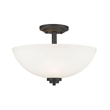 Z-Lite 443SF-BRZ Ashton Semi Flush Mount, 3 Bulb, Matte Opal Glass