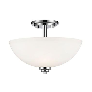 Z-Lite 443SF-CH Ashton Semi Flush Mount, 3 Bulb, Matte Opal Glass