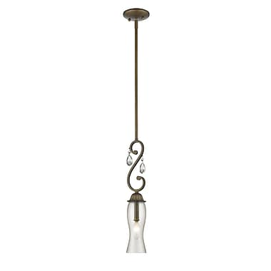 Z-Lite 720MP-GB Melina Mini Pendant, 1 Bulb, Cognac Seedy Glass