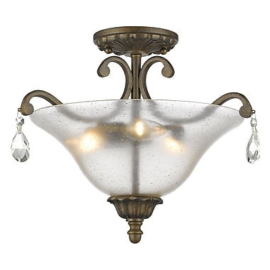 Z-Lite 720SF3-GB Melina Semi Flush Mount, 3 Bulb, Cognac Seedy Glass