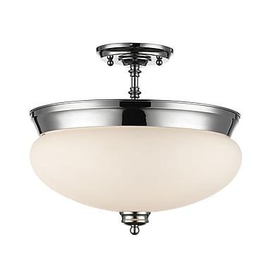 Z-Lite 721SF-CH Amon Semi Flush Mount, 3 Bulb, Matte Opal Glass