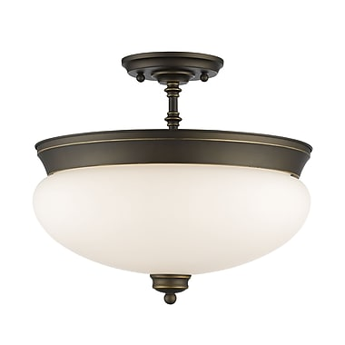 Z-Lite 721SF-OB Amon Semi Flush Mount, 3 Bulb, Matte Opal Glass