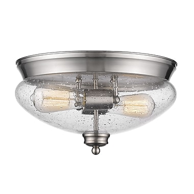 Z-Lite 722F2-BN Amon Flush Mount, 2 Bulb, Clear Seedy Glass