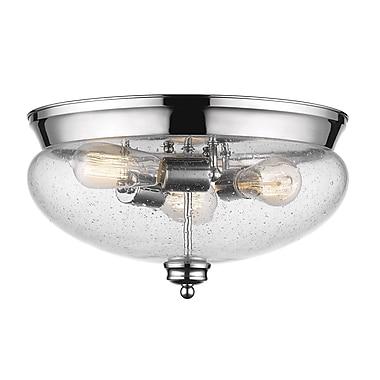 Z-Lite 722F3-CH Amon Flush Mount, 3 Bulb, Clear Seedy Glass