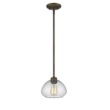 Z-Lite 722MP-OB Amon Mini Pendant, 1 Bulb, Clear Seedy Glass