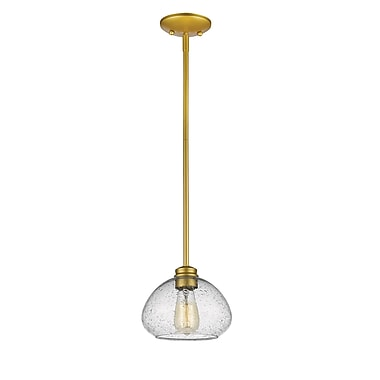 Z-Lite 722MP-SG Amon Mini Pendant, 1 Bulb, Clear Seedy Glass