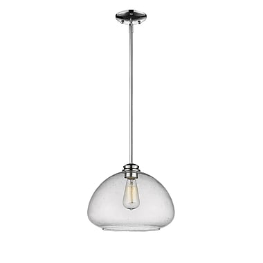 Z-Lite 722P13-CH Amon Pendant, 1 Bulb, Clear Seedy Glass