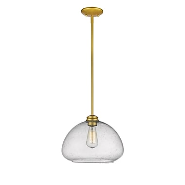 Z-Lite 722P13-SG Amon Pendant, 1 Bulb, Clear Seedy Glass