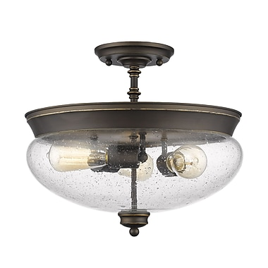 Z-Lite 722SF-OB Amon Semi Flush Mount, 3 Bulb, Clear Seedy Glass