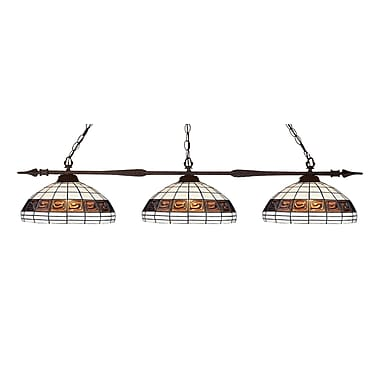 Z-Lite 88103BRZ-F14-1 Aztec Island/Billiard, 3 Bulb, Multi-Coloured Tiffany Glass