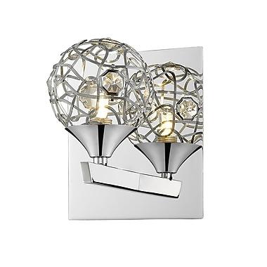 Z-Lite 889CH-1S Nabul Wall Sconce, 1 Bulb, Chrome Steel + Crystal