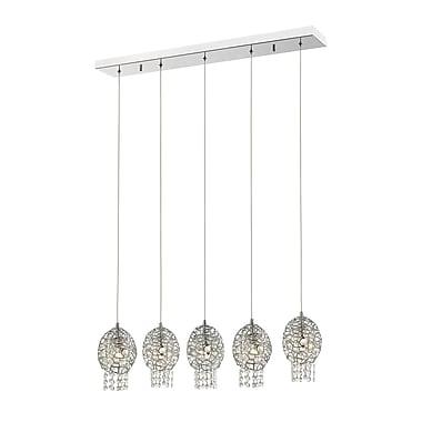 Z-Lite – Luminaire suspendu Nabul 889CH-5B pour îlot/table de billard, 5 ampoules, acier chromé + cristal