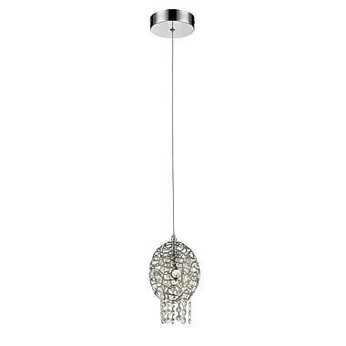 Z-Lite 889CH-5MP Nabul Mini Pendant, 1 Bulb, Chrome Steel + Crystal
