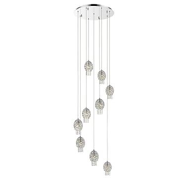 Z-Lite – Luminaire suspendu Nabul 889CH-9, 9 ampoules, acier chromé et cristal