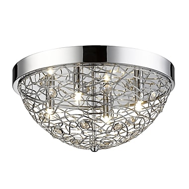 Z-Lite 889CHF16 Nabul Flush Mount, 4 Bulb, Chrome Steel + Crystal