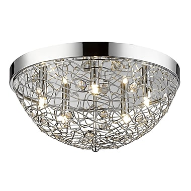 Z-Lite 889CHF18 Nabul Flush Mount, 5 Bulb, Chrome Steel + Crystal